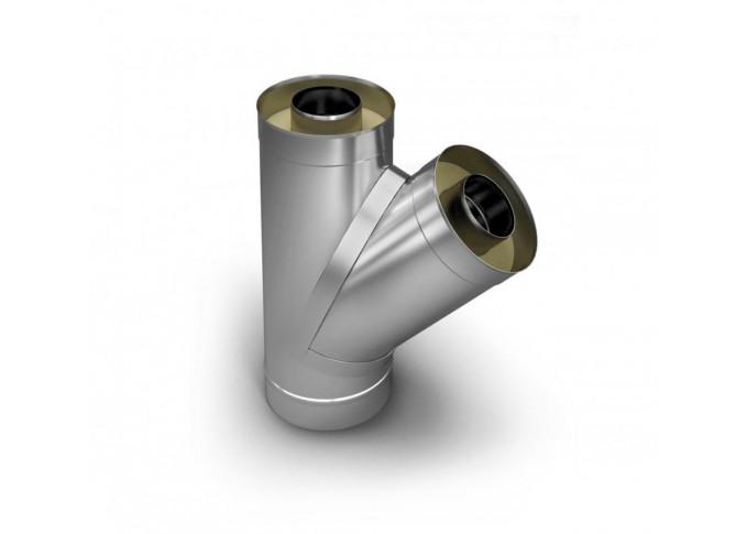 Труба-трійник з нержавіючої сталі, кут з'єднання труб-45°, товщина стінки-1 мм 130 мм